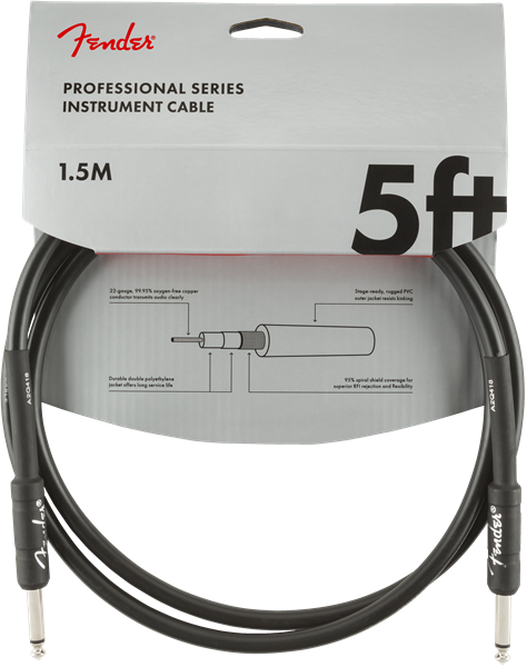 Fender Professional Series Instrument Cable, Straight/Straight, 5', Black