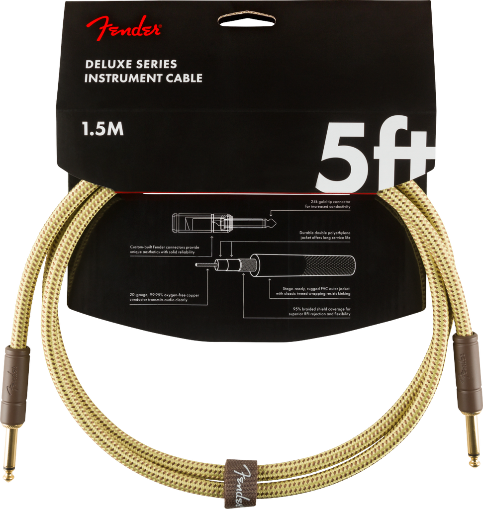 Fender Deluxe Series Instruments Cable, Straight/Straight, 5', Tweed
