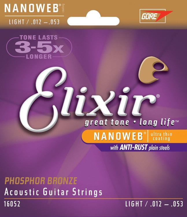 Elixir Phospher Bronze Acoustic Strings With Nanoweb Coating