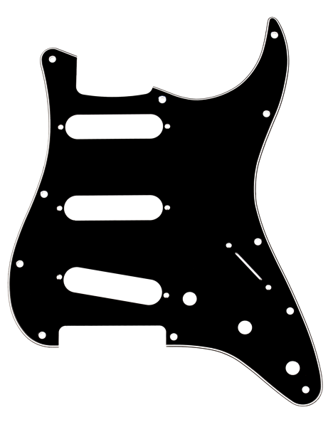 Fender Pickguard, Stratocaster® S/S/S, 11-Hole Mount, B/W/B, 3-Ply