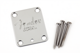 "Fender 4-Bolt American Series Guitar Neck Plate with ""Fender® Corona"" Stamp (Chrome)"