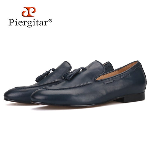 Piergitar brand 2019 Three Colors Calf Leather men casual shoes Plus Size Men's Loafers Party and Wedding Men dress shoes