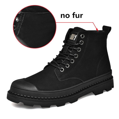 Black Warm Winter Men Boots Genuine Leather Ankle Boots Men Winter Work Shoes Men Military Fur Snow Boots for Men Botas JKPUDUN - Men's Shoe Mall