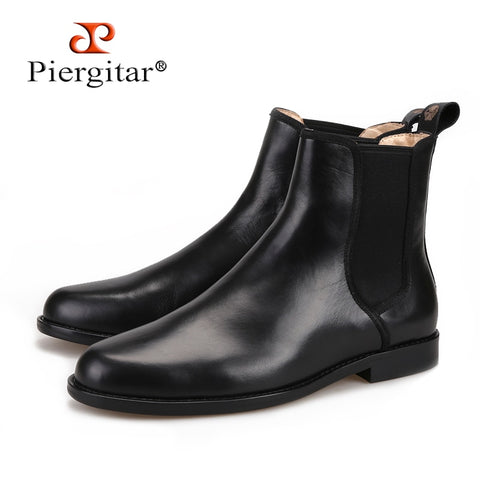 Piergitar 2019 classic styling Handmade Black Italian leather Men Chelsea Boots pair with anything from denim to formal wear