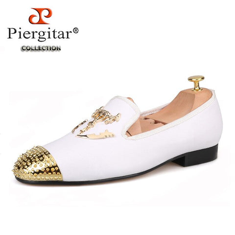 Piergitar 2019 New white colors men leather shoes with Gold toe metal party and wedding men loafers men's dress shoes plus size