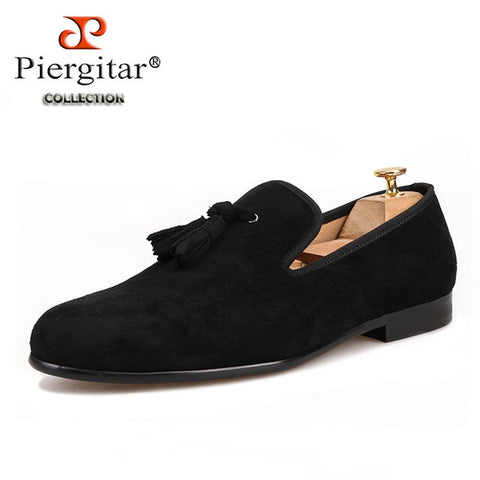 Piergitar new arrival handmade cow suede men tassel shoes party and wedding men's smoking slippers plus size men loafers