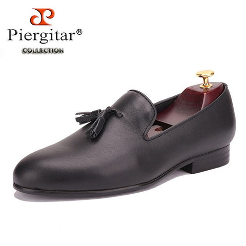 Piergitar 2019 Genuine Leather men shoes with leather tassel British style men dress shoes Wedding and Banquet men's loafers