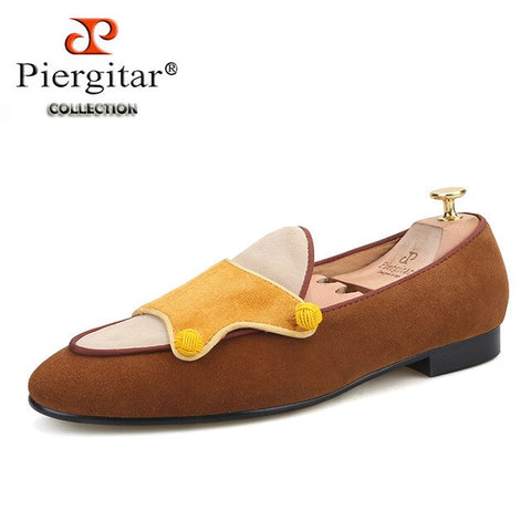 Piergitar brand handmade men cow suede loafers fashion men's casual shoes party and banquet male smoking slippers green bottom
