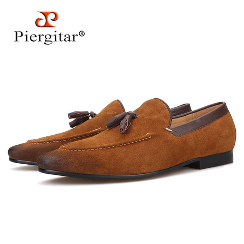 Piergitar 2019 new arrival black and brown colors men suede shoes with leather tassel handmade men's loafers smoking slippers