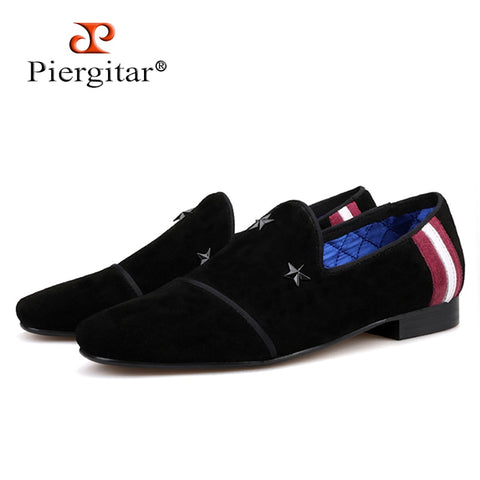 Piergitar 2019 Handmade men suede shoes with black stars buckle Fashion Party and Prom men loafers plus size men's flats