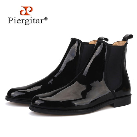 Piergitar 2019 British classic Black Patent leather Men Chelsea Boots Winter style handcrafted Men's casual boots plus size