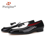 Piergitar new design black patent leather stitching white canvas men loafers fashion party and wedding men tassel shoes