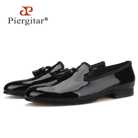 Piergitar black patent leather classic men dress shoes plus size men's tassel loafers party and wedding men smoking slippers