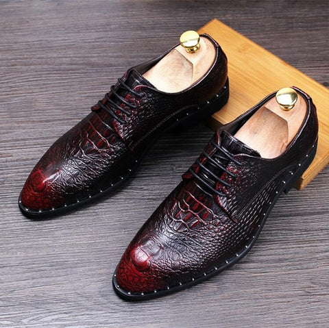 Men's Crocodile Dress Leather Shoes Lace-Up Wedding Party Shoes Mens Business Office Oxfords Flats Plus Size Men Fashion