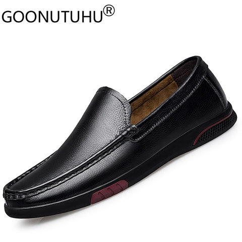 2020 new men's shoes casual genuine leather cow loafers male classics black slip on shoe man flat driving shoes for men hot sale