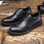 movechain Men's Lace-Up Business Dress Office Shoes Men Leather Shoes Mens Classic Retro Brogue Shoes Fashion Wedding Flats