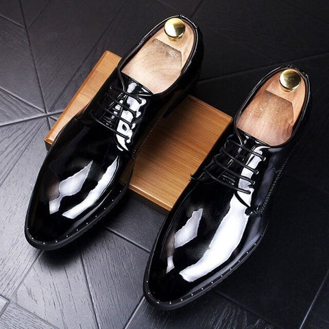 Movechain Men's Business Dress Shoes Mens Lace-Up Patent Leather Printed Office Oxfords Man Fashion Casual Party Wedding Flats