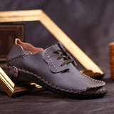Men's Handmade Fashion Leather Loafers Mens Lace-Up Casual Business Moccasins Oxfords Shoes Man Driving Flats