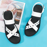 movechain Men's Summer Genuine Leather Sandals Mens Fashion Cross-Strap Rivets Shoes Man Flats Black White
