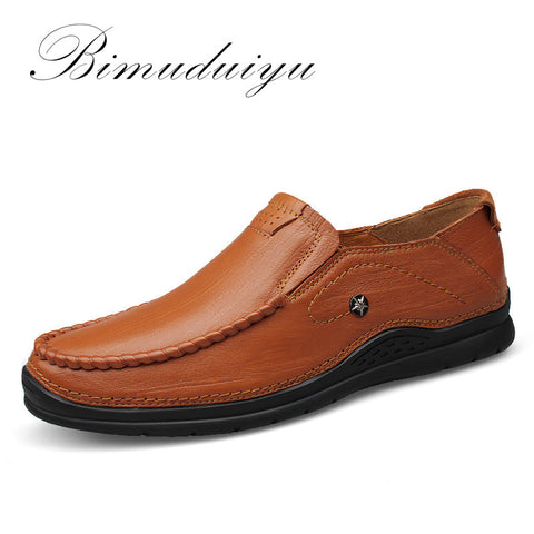 BIMUDUIYU Brand Fashion Business Casual - Cow Leather Men Shoes - Soft Ventilation High Quality Men's footwear - Big Size - Men's Shoe Mall