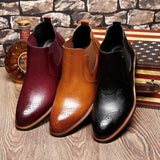 Mens Leather Formal Dress Business Oxford Brogue Wingtip Ankle Boots - Men's Shoe Mall