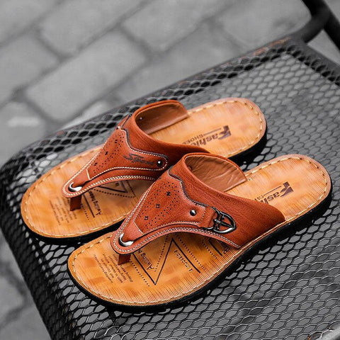 LAISUMK Slipper Mens Genuine Leather Casual Shoes Summer Soft Male Beach Slippers Flip Flops Breathable Shoes Drop Shipping