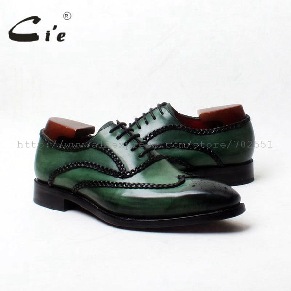 cie Goodyear Welted Custom Handmade Genuine Calf Outsole Leather Men's Dress Oxford Color Dark Green Shoe