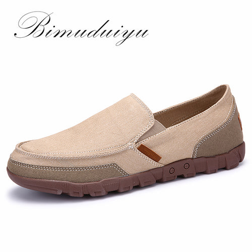 BIMUDUIYU Fashion Spring Summer Men Canvas Shoes Breathable Casual Shoes Loafers Comfortable Ultralight Lazy Slip on Shoes Flats