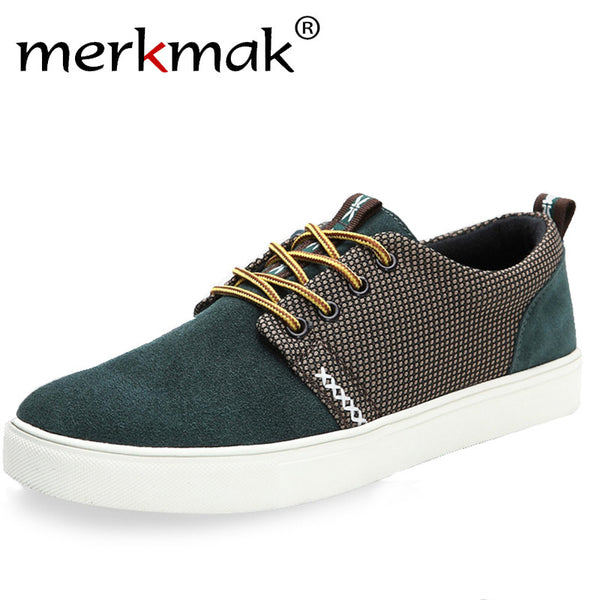 Merkmak 2017 New Fashion! Casaul Men's Stylish Comfortable Flat Shoes Lace Up Frosted hot sale loafer shoes men flat shoes