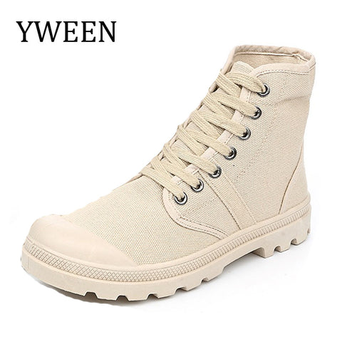 YWEEN 2017 Spring Autumn Lace-up Fashion Men's Army Boots man Casual Canvas shoes Male High Quality shoe - Men's Shoe Mall