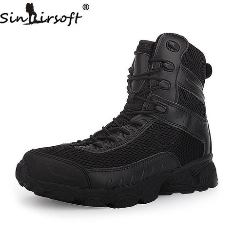 SINAIRSOFT Genuine Leather Outdoor Sport Army Men's Tactical Boots CP Camo Male Combat Winter Shoes Military Boots Hiking Shoes