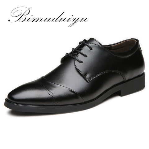 BIMUDUIYU High Quality Leather Dress Shoes Tide Pointed England Style Business Wedding Formal Flats Black Shoes For Men - Men's Shoe Mall