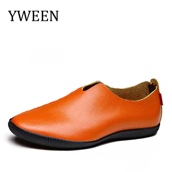 YWEEN Loafers Men's Shoes Spring Summer hot sale Slip-On Solid Soft Leather Men Casual Flats Oxford Shoes For Man