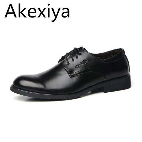 Akexiya Men's Business Shoes Spring Solid Lace-up PU Casual Shoes Male Plain Fashion Flats Classic Black Shoes - Men's Shoe Mall
