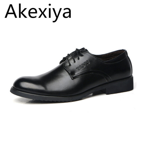 Akexiya Men's Business Shoes Spring Solid Lace-up PU Casual Shoes Male Plain Fashion Flats Classic Black Shoes
