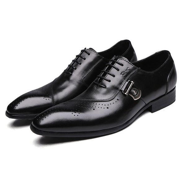 FELIX CHU Italian Designer Black Brown Brogue Shoes Genuine Leather Lace Up Men Formal Dress Oxfords Party Office Wedding