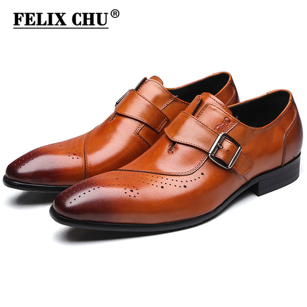 FELIX CHU 2017 New Genuine Leather Single Buckle Mens Formal Brogue Man Office Party Wedding Slip On Dress Brown Shoes