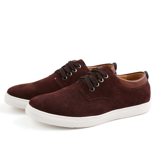 YWEEN Men's Casual Shoes Man Flock Leather Lace-up shoes Man Oxford Big Size Flats
