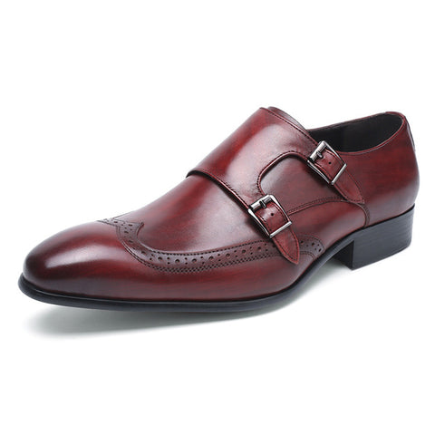 FELIX CHU High Quality Genuine Leather Men Formal Shoes Party Pointed Toe Dressy Weddings Burgundy Monk Strap Men Dress Shoes - Men's Shoe Mall