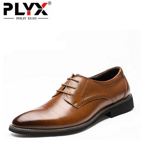 PHLIY XUAN 2017 Man Flat Classic Men Dress Shoes Genuine Leather Wingtip Carved Italian Formal Oxford Plus Size For Winter - Men's Shoe Mall