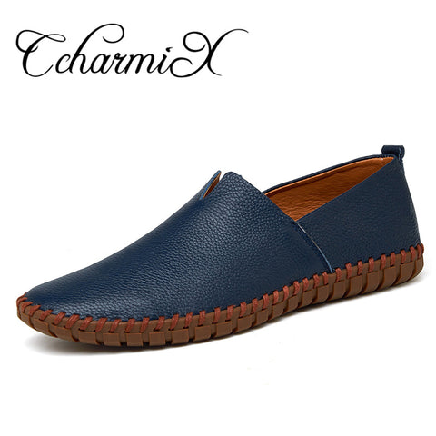CcharmiX Genuine Cow leather Mens Loafers Fashion Handmade Moccasins Soft Leather Blue Slip On Men's Boat Shoe PLUS SIZE
