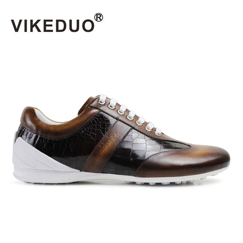 2018 Real Vikeduo Hot Handmade Men's Casual Shoes Custom 100% Genuine Cow Leather Fashion Luxury Comfortable Original Design