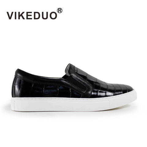 Vikeduo 2018 hot sales Handmade Flat male leisure shoes Genuine Leather Fashion Comfortable Black skateboard Mens Casual Shoes - Men's Shoe Mall