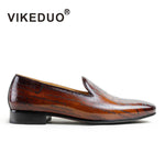 Vikeduo Handmade Designer men's Loafer Shoes Genuine Leather Fashion Luxury Wedding party Dress Leisure Brand male Casual Shoes - Men's Shoe Mall