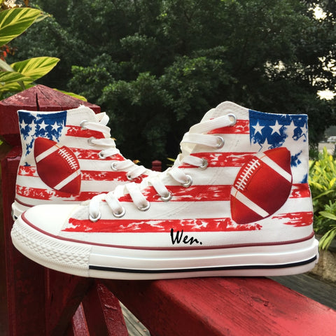 Wen Design Custom Hand Painted Shoes American Football American Flag Rugby Men Women's High Top Canvas Sneakers - Men's Shoe Mall