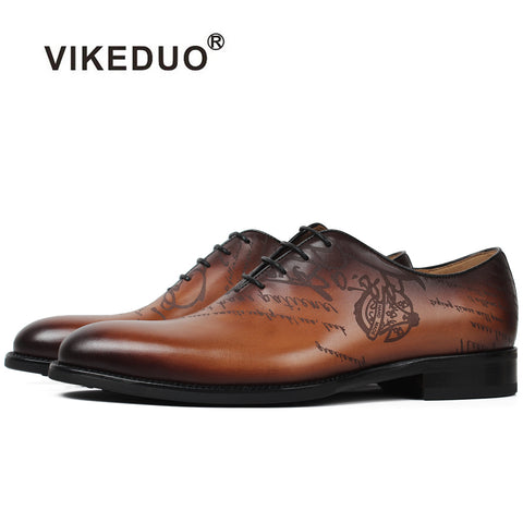 Vikeduo Handmade Italy Designer vintage Men's oxford shoes Genuine leather Wedding Party formal casual Brand Male dress shoes - Men's Shoe Mall