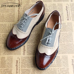 Men genuine leather oxford shoes male flats handmade vintage retro lace up loafers brown casual sneakers flat shoes for men - Men's Shoe Mall