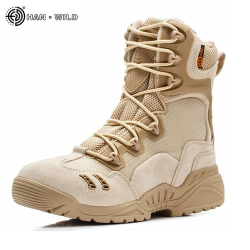 Men Winter Military Boots Leather Camouflage Lace Boots High Top Safety Works Combat Ankle Boots Men's Tactical shoes