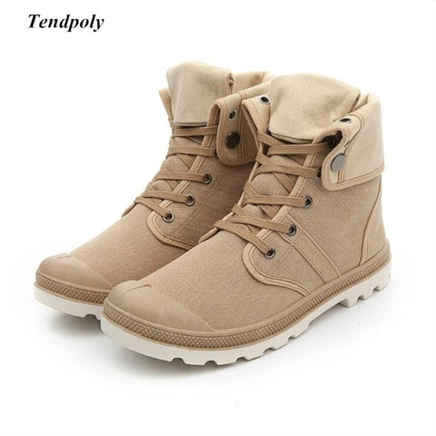 Autumn and winter 2018 new non-slip breathable middle canvas shoes Paladin men's outdoor casual shoes fashion hot wild boots - Men's Shoe Mall