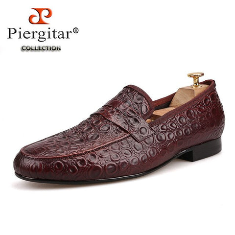 Piergitar 2018 new style Marble Embossing Brown Genuine Leather Loafers Men Casual shoes Men's Flats SIze US 4-17 Free shipping